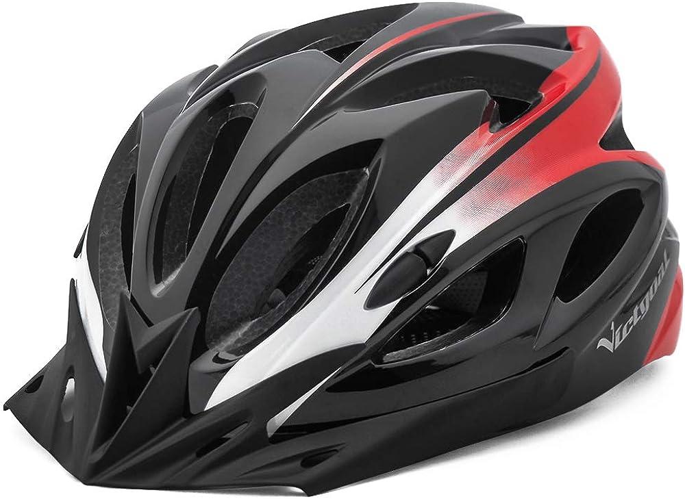 Victgoal casco unisex da bici per adulti, con luce a led, con visiera di sicurezza rimovibili, 57-61 cm HT-13B
