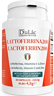Lattoferrina Integratore 30 Capsule Dulàc Made in Italy, Integratore Difese Immunitarie con Lattoferrina 200 mg/dose, Vita...