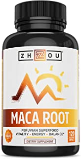 Maca Root Capsules with Black maca, Wellness Supplement for Men & Women, Boosts Energy -120Count