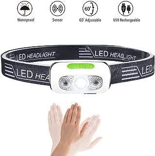 Rechargeable Headlamp, Ultralight Running Headlamp Super Bright IPX7 Waterproof Headlight 5 Light Modes for Hiking Camping Dog Walking