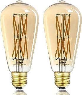 LEOOLS 12W Dimmable Vintage Edison LED Light Bulb,100W Equivalent,ST64 Filament Bulbs, 2500K Warm White,Amber Glass, Antique Shape, Squarrel Cage Filament Vintage Light Bulb, 2-Pack.