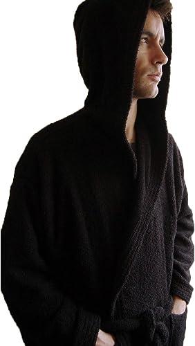 BgEurope personnalisé Monogramme à Capuche Coton Peignoir de Bain en Tissu éponge Noir, 100% Coton, Noir, CL
