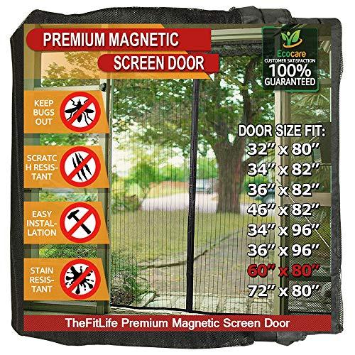 TheFitLife Cortina Mosquitera magnética para Puertas - Malla con cierre de gancho y bucle e imanes potentes que cierran instantáneamente, dejando todos los instectos fuera. (158x206cm, Negro)