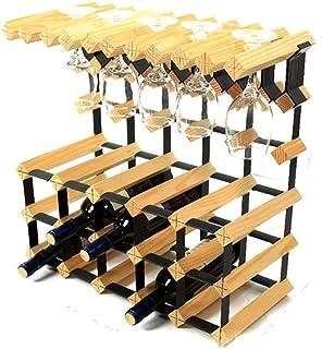 Organisation de rangement de cuisine Bouteille de vin autoportante à 3 niveaux Tonneau en bois 15 bouteilles suspendues 10...