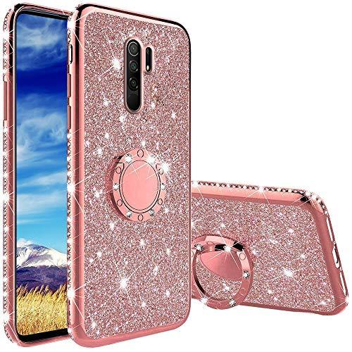 Funda para Xiaomi Redmi 9, Glitter Brillante Diamante Carcasa Soporte Magnético de 360 Grados Anillo Giratorio Slim Suave Silicona Gel TPU Anti-Choques y Anti- Arañazos Protectora Carcasa - Oro Rosa