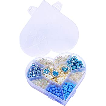 ANPHSIN ビーズ アクセサリー キット DIY材料 手作り 知育玩具 おもちゃ ラブリー メイキングトイ 手芸用品 女の子 子供 誕生日 プレゼント (blue)