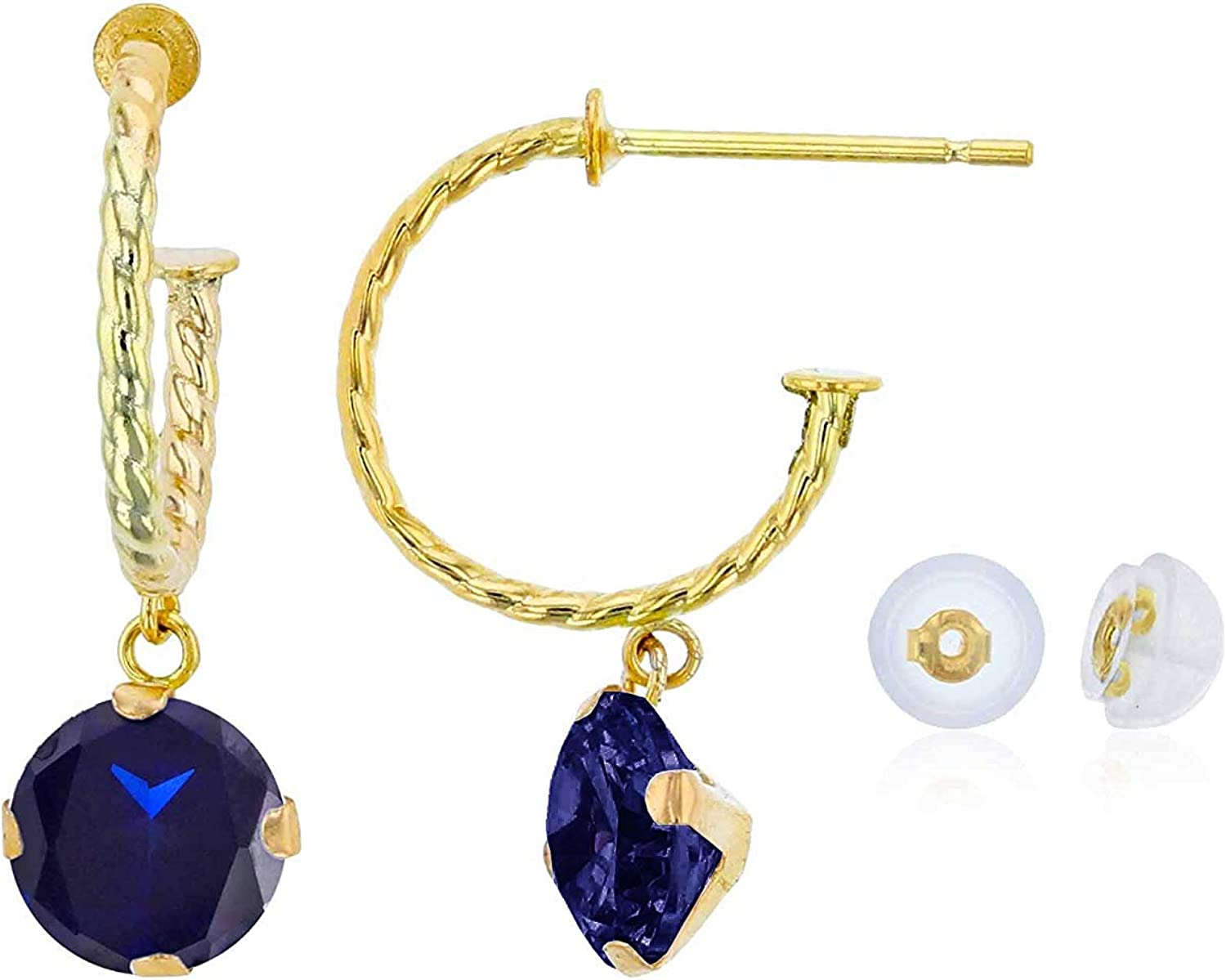 14K Yellow Gold 12mm Rope Directly managed store Half-Hoop Round In a popularity 6mm Mart Gemstone with