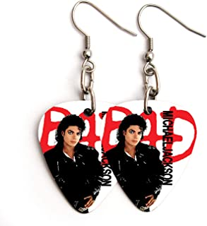 Michael Jackson BAD Guitar pick plectrum Earrings (FC)