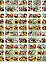 Set of 100 Assorted Valley Green Flower Seed Packets! Flower Seeds in Bulk - 20+ Varieties Included