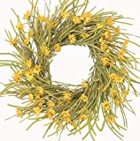Huashen Cosmos & Daisy Wreath Yellow Spring Wreath with Wild Grass Foliage on Grapevine for Indoor Front Door 26 inch