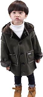 JIANGWEI ボーイズコート キッズ服 男の子 ラシャコート 子供服 ブルゾン ロングコート ジャケット 子供ムートン フード付き 可愛い カッコイイ 3-6歳 冬 暖かい