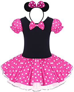 IWEMEK Girls Vintage Polka Dots Christmas Princess Dress Cosplay Fancy Ballet Dance Leotard Tutu Birthday Outfits with Hea...