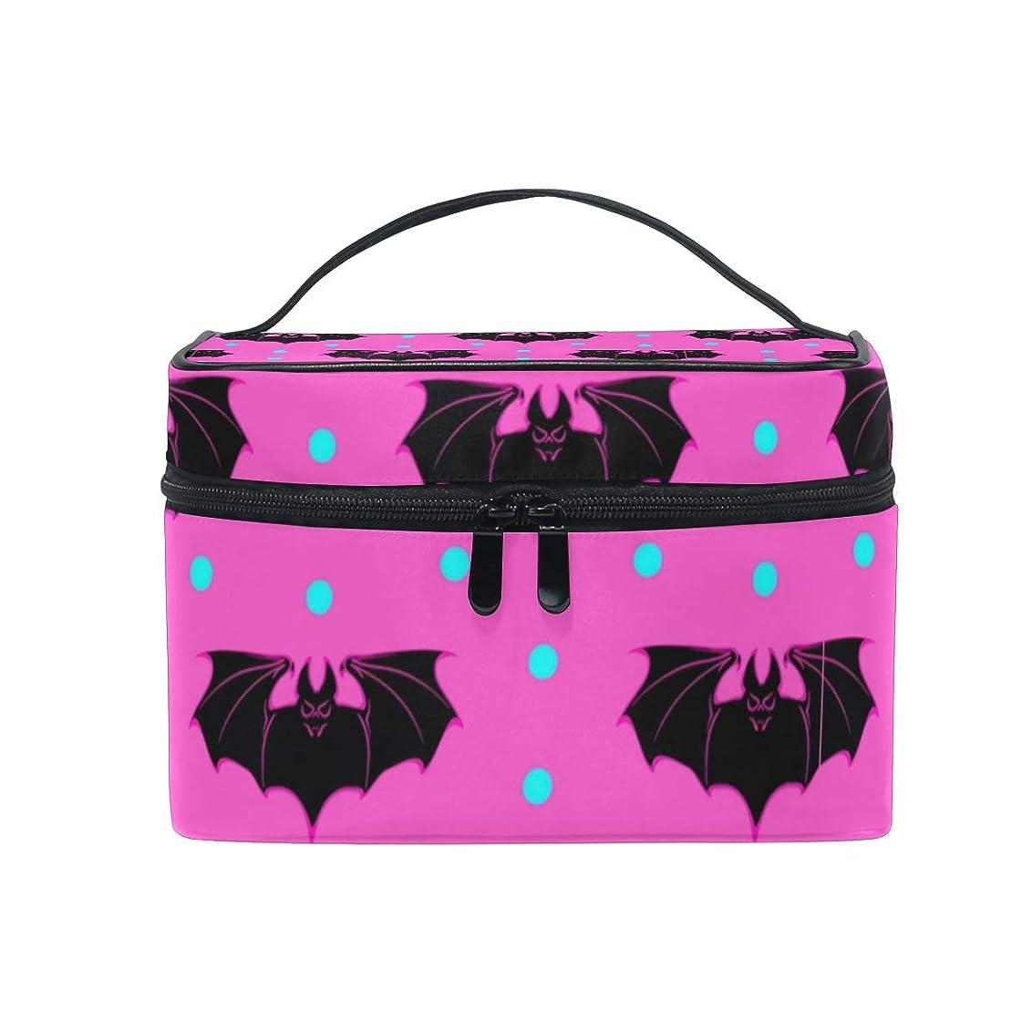 美徳礼儀に対応メイクボックス ピンクブラックバット柄 化粧ポーチ 化粧品 化粧道具 小物入れ メイクブラシバッグ 大容量 旅行用 収納ケース