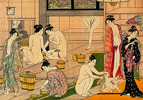 Geisha Japanese Art Print Bathhouse Women Poster A3 Picture Asian Oriental Painting Wall Decor Decal Non Canvas