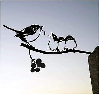 Silhouette en Acier d'oiseau en Métal,Décoration d'oiseaux de Branche,Statue Oiseaux Décor d'arbre d'art de Figure pour Dé...