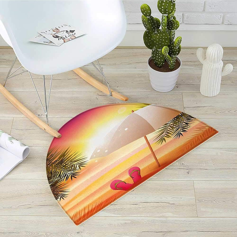 orange Semicircle Doormat Sunset at The Beach with Flip Flops Umbrella and Palm Trees Illustration Halfmoon doormats H 35.4  xD 53.1  orange and Yellow