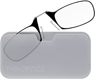 ThinOptics Reading Glasses + White Universal Pod Case | Black Frame, 2.50 Strength Readers