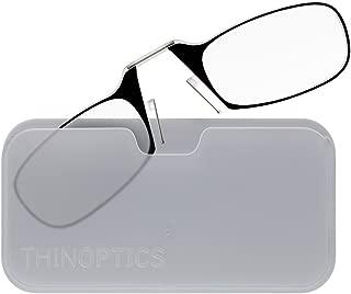 ThinOptics Reading Glasses + White Universal Pod Case | Black Frame, 1.50 Strength Readers