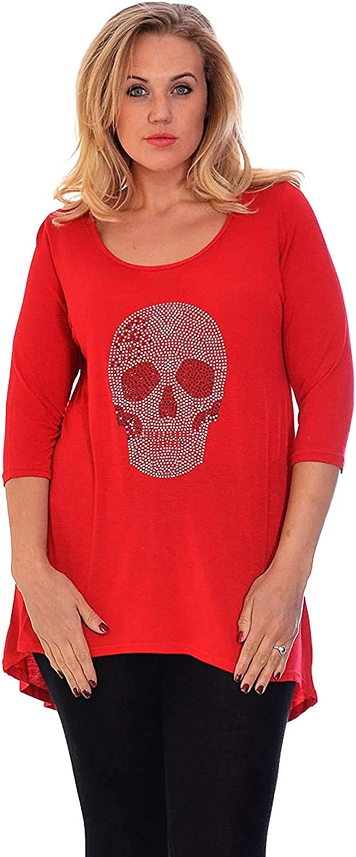GirlzWalk Womens Plus Size Skull Gem Dip Hem Sizes 10 to 22-24