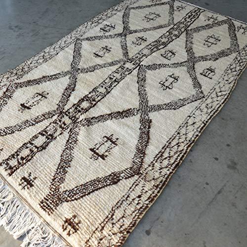 Beni Ouarain Marokkaanse Azilal Berber tapijt Orient - 100% handgeweven natuurlijk tribal wol tapijt - diamant vormen - 267 x 138