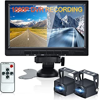 $116 » 7 inch Vehicle Backup Camera with AHD 2 Split Monitor 2 x 1080P Rear View Camera with IP68 Waterproof Night Vision Suitabl...