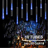 11.8 inch 10 Tubes 240 LED Meteor Shower Raindrop Lights with Timer Function Cascading Lights LED Icicle Lights Falling Raindrop Lights for Holiday Party Wedding Christmas Tree Decoration (Blue)