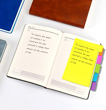 UPlama 3 Pack Divider Sticky Notes, Color Coded Index Tab Stickers Tabbed Self-Stick Lined Note Pad for School Office, 60 Rul