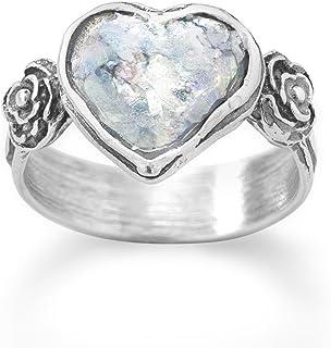 Oxidado Ste. Anillo de plata forma de corazón vidrio romano corazón 13,5mm oxidado flores ambos lados–Tamaño P