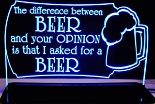 ValleyDesignsND Beer Bar Sign Difference Opinion Acrylic Lighted Edge Lit 12