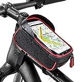 iregro bicicletta borsa ciclismo bici top tubo manubrio bag phone holder con visiera, adatto per il telefono mobile con dimensione inferiore a 6, impermeabile anteriore telaio borse (rosso e nero)