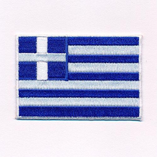 hegibaer 80 x 50 mm Griechenland Flagge Athen Greece Patch Aufnäher Aufbügler 0637 X