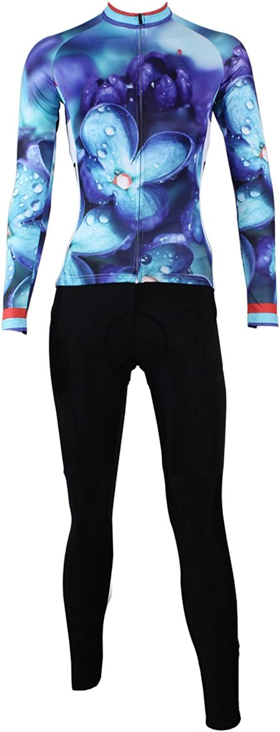 ILPALADINO Women's Cycling Jersey Clothing Set Long Sleeve and 3D Padded Pant Flowers blueee