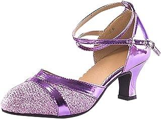 comprar comparacion Luckycat Zapatos para Mujer Zapatos de Baile Latino de Tacón Alto/Medio para Mujer Zapatos de Baile/Zapatos Latinos de sat...