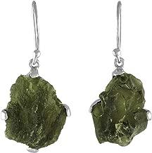 Starborn Sterling Silver Natural Raw Moldavite Prong Set Earrings