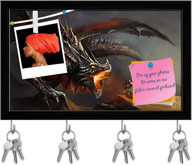 Artzfolio Knight Fighting Dragon D3 Key Holder Hooks   Notice Pin Board   Black Frame 16.3 X 10Inch