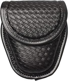 YunShao Basketweave Single Handcuff Case, Hidden Snap Single Handcuff Holder Pouch for Duty Belt
