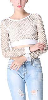 Ypser Women's Fishnet Mesh Crop Tops Long Sleeve Sheer Net T-Shirt Tee