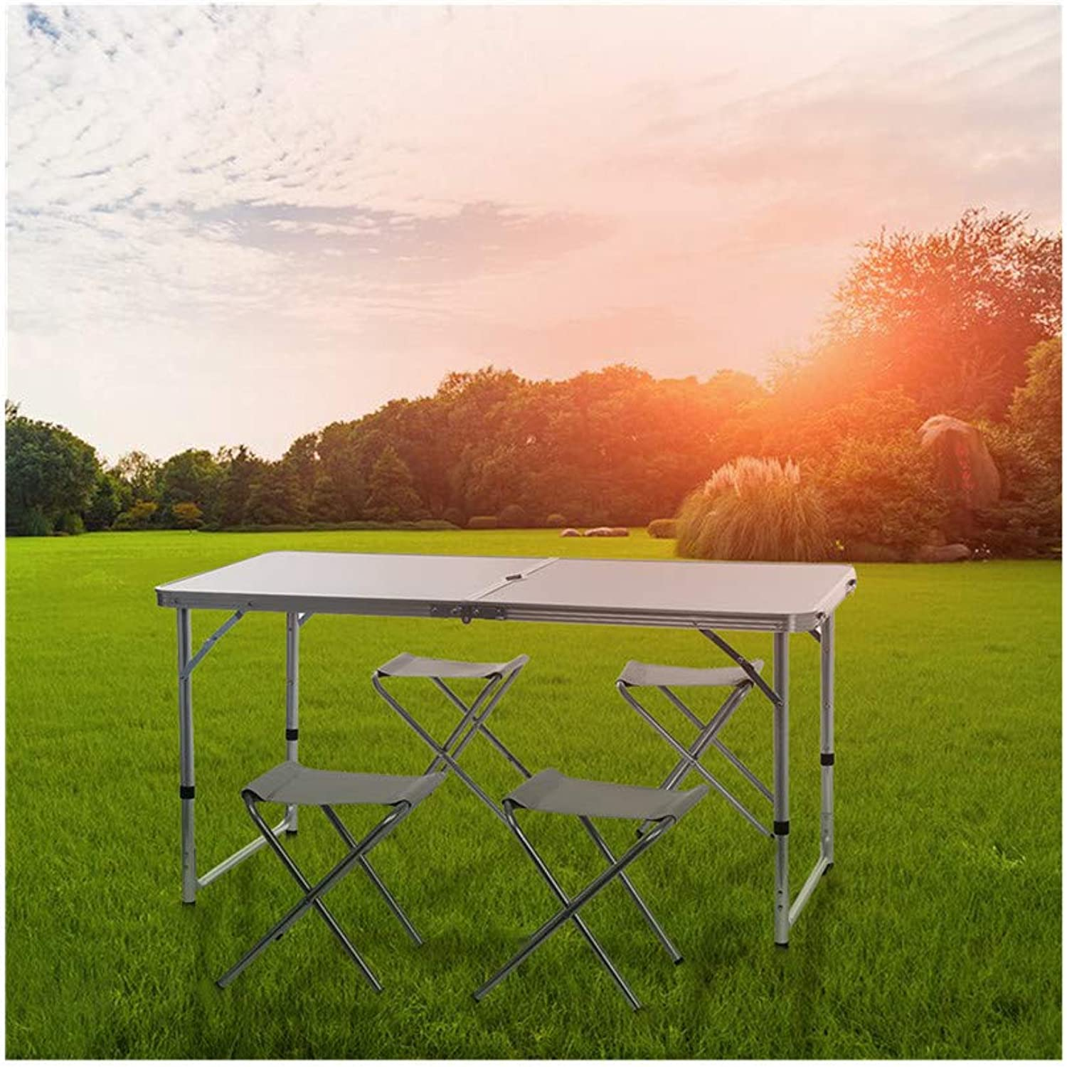 Kimanli Portable Camping Table 4-Person Folding Aluminum Picnic Party Dining Desk in Out
