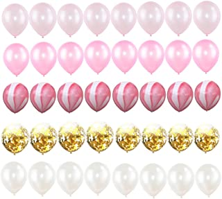 Funitory 40Pcs 12 Inch Hot Pink and Gold Confetti Balloons Set,Gold Confetti White Pink Agate Marble Balloons for Baby Bridal Shower Wedding Birthday Party Decoration