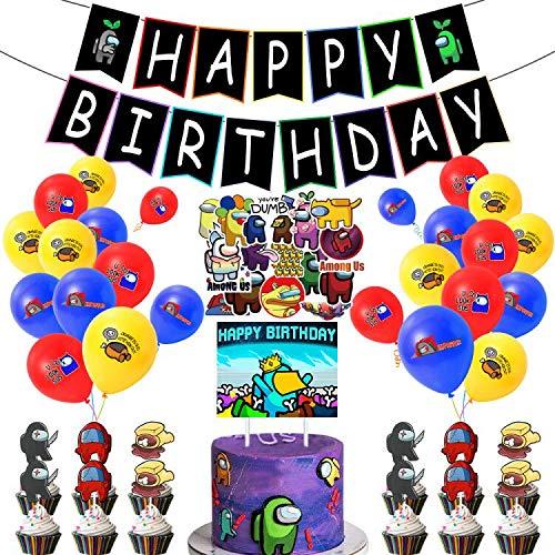 Furnite Among USS Suministro de fiesta de cumpleaños con pegatinas de decoración juego de feliz cumpleaños pancarta globo para decoración de tartas para niños niñas adultos