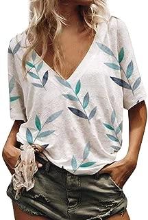 Kulywon Blouse for Women,Summer Loose Printed V-Neck Short Sleeve T-Shirt Beach Tops 2019