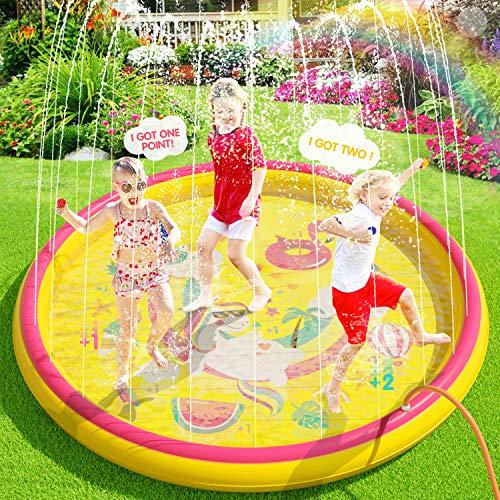 Peradix Tappetino Gioco d'Acqua per Bambini, 170cm Spruzzi e Splash Tappeto Gioco d'Acqua da Giardino, Gioco da Giardino Gonfiabile Piscina all'Aperto Giocattoli per Piccoli (Gonfiabile Rotondo)