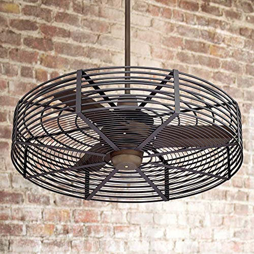 "32"" Vintage Breeze Bronze - Black Cage Ceiling Fan"