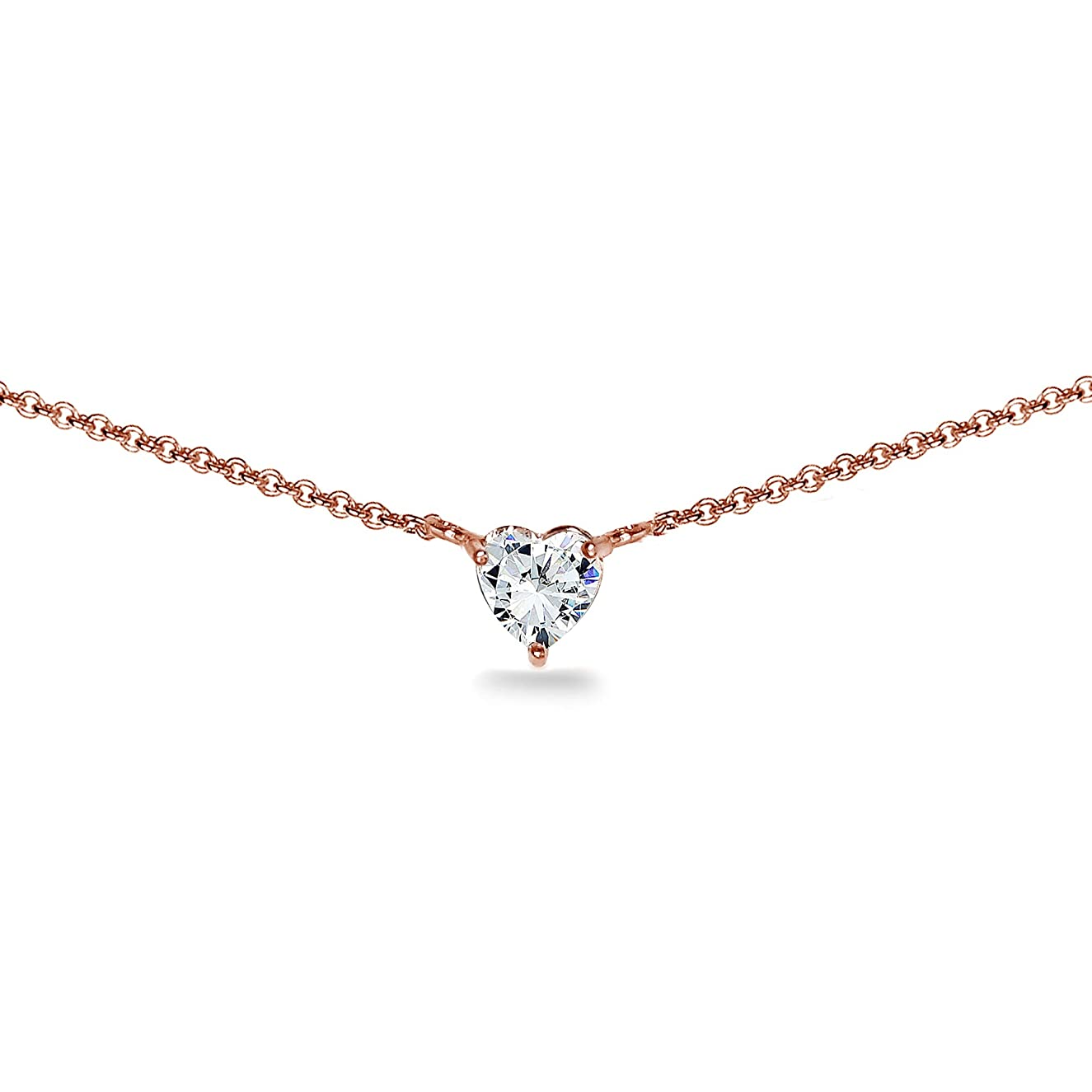 Rose Gold Flashed Sterling Silver 6mm Heart Choker Necklace Made with Swarovski Zirconia
