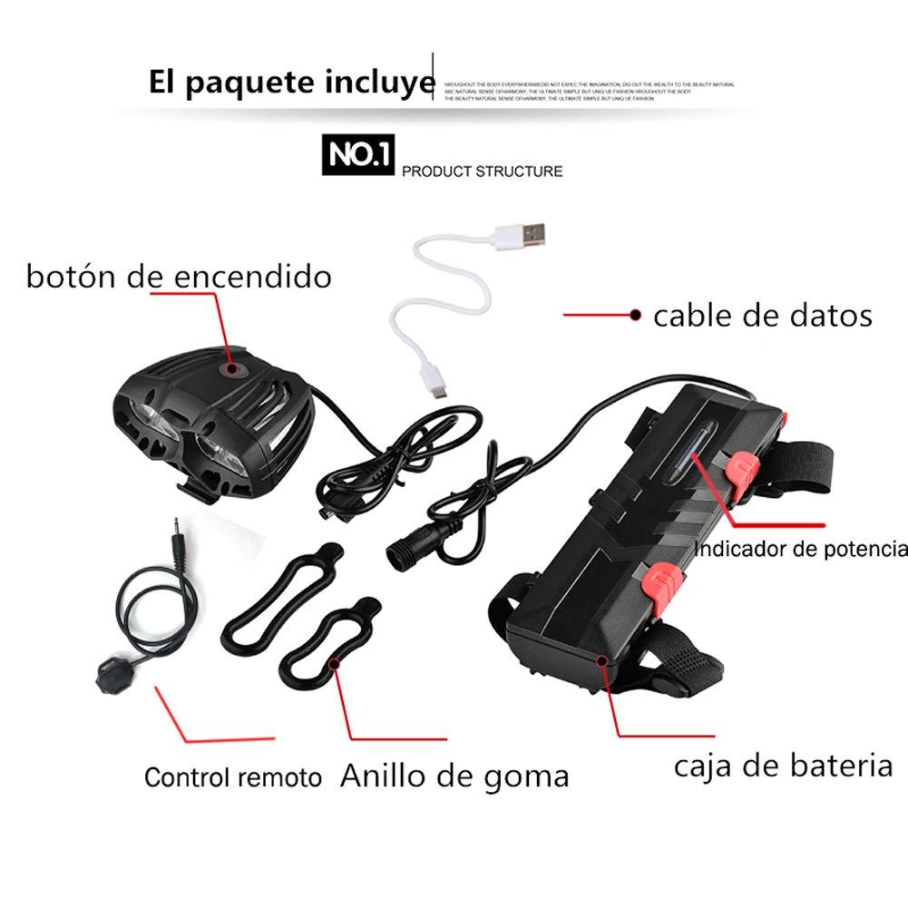 Nabowei Luz de Bici, Luz Potente LED Faro Bicicleta Carga USB 6 Horas de Trabajo Impermeable 4 Led 4 Modos con Luz de Bicicleta Batería Negra- Control Remoto: Amazon.es: Deportes y aire libre