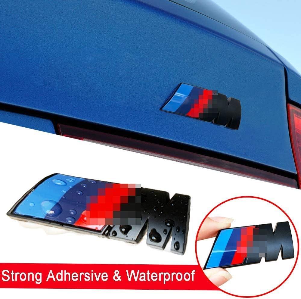 Autocollant de d/écalque de Logo 3D Compatible pour BMW Tous Les mod/èles,Argent Embl/èmes lat/éraux daile X 2 HELMT 3PCS M Sport Tri Color Badge Embl/ème de Coffre arri/ère X 1