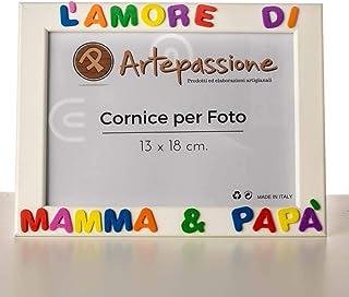 Cornici per foto in legno 13x18 cm. con scritto L'Amore di Mamma & Papà, da appoggiare o appendere, colore bianco. Ideale ...
