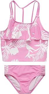 KENSIE GIRL Bathing Suit - 2-Piece Quick Dry Tankini Swimsuit Set (Little Girl/Big Girl), Size 14/16, Fuchsia