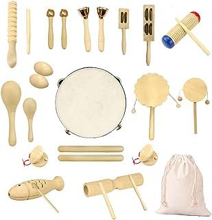 Ulifeme Jouet Musique Bois Bebe, 27 Pièces Instrument de Musique pour Enfant, Ensemble de Jouets 100% Bois Pur, Kit Rythmi...