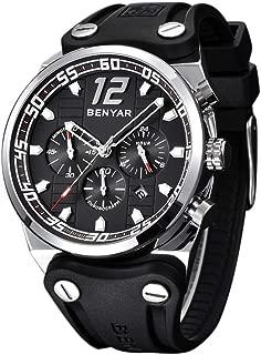 BENYAR Watch Men Chronograph 3ATM Waterproof Sport Fashion PU Band Big Dial Black Silvery Case Quartz Movement